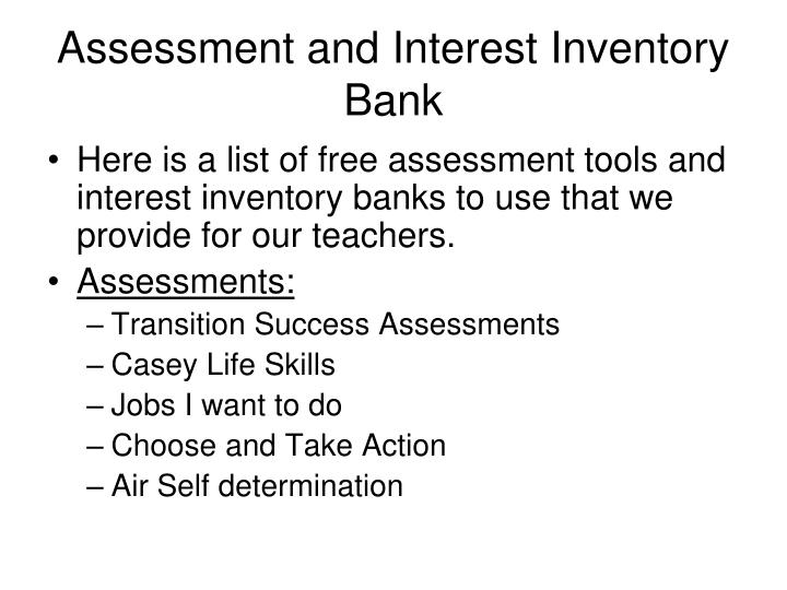 Assessment and interest inventory bank