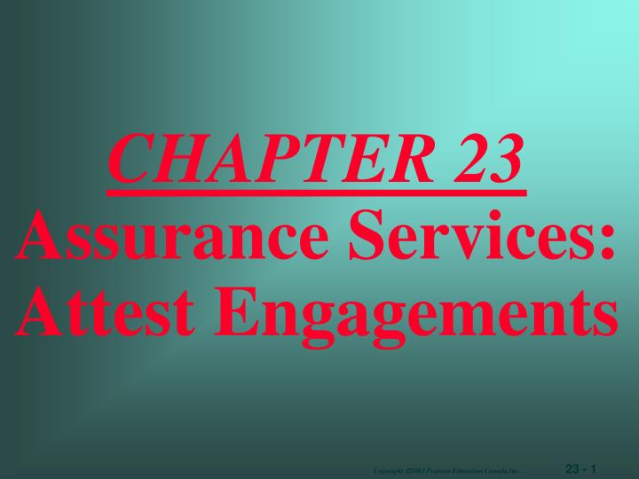 chapter 23 assurance services attest engagements n.
