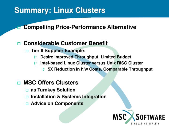 Summary: Linux Clusters