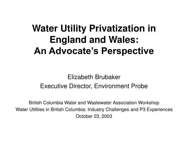 water utility privatization in england and wales an advocate s perspective n.