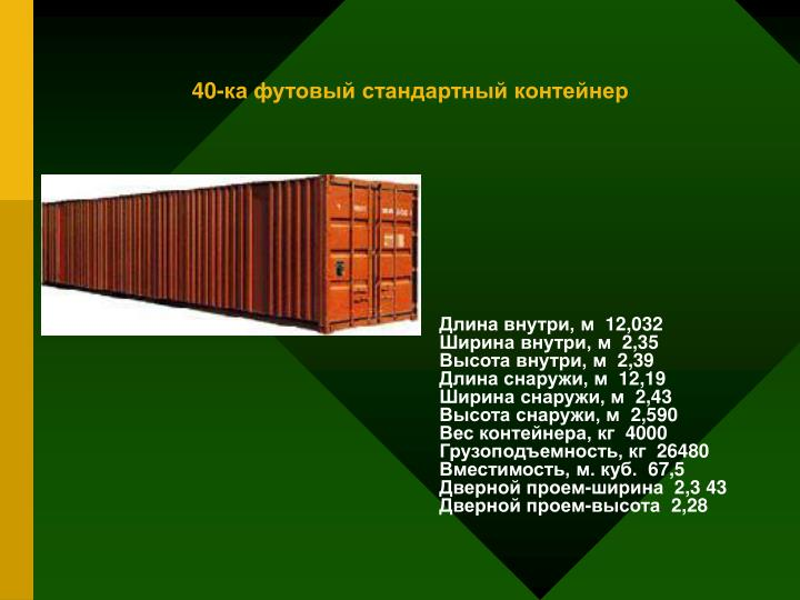 40-ка футовый стандартный контейнер