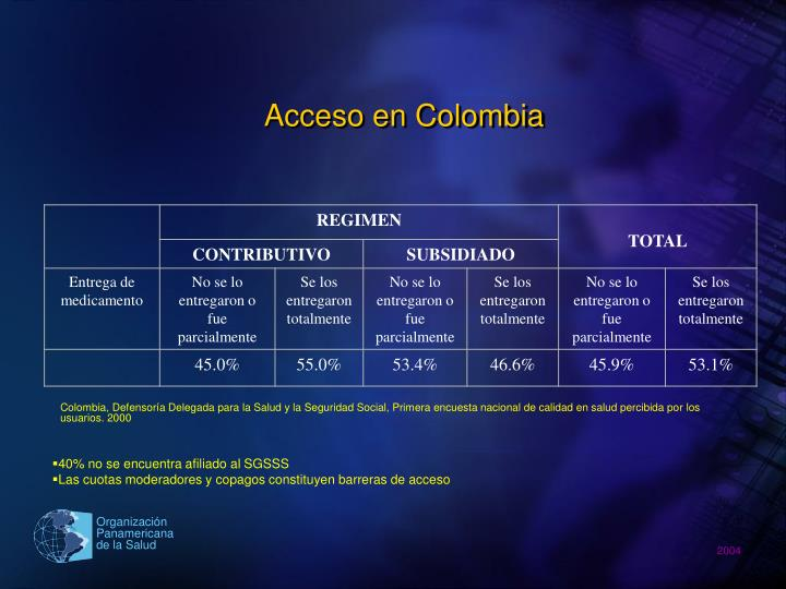 Acceso en Colombia