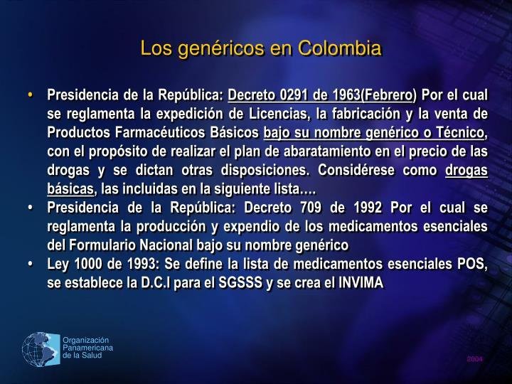 Los genéricos en Colombia