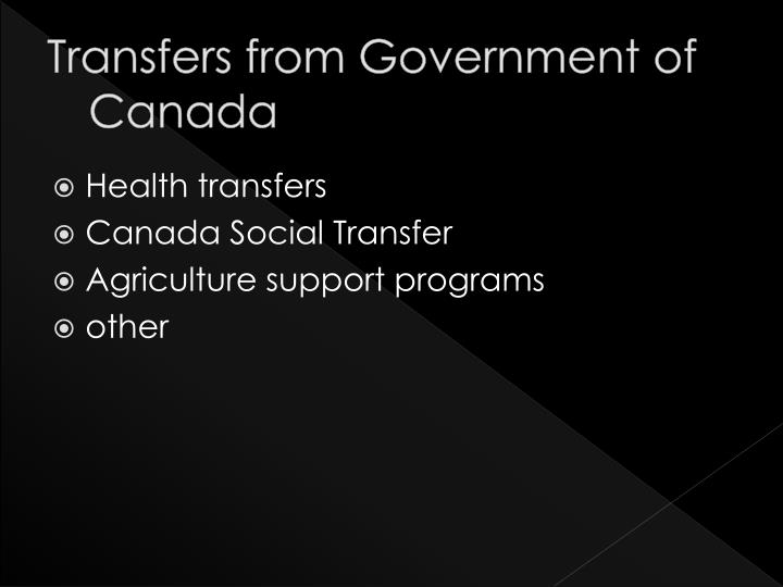 Transfers from Government of Canada