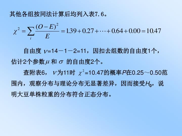 其他各组按同法计算后均列入表