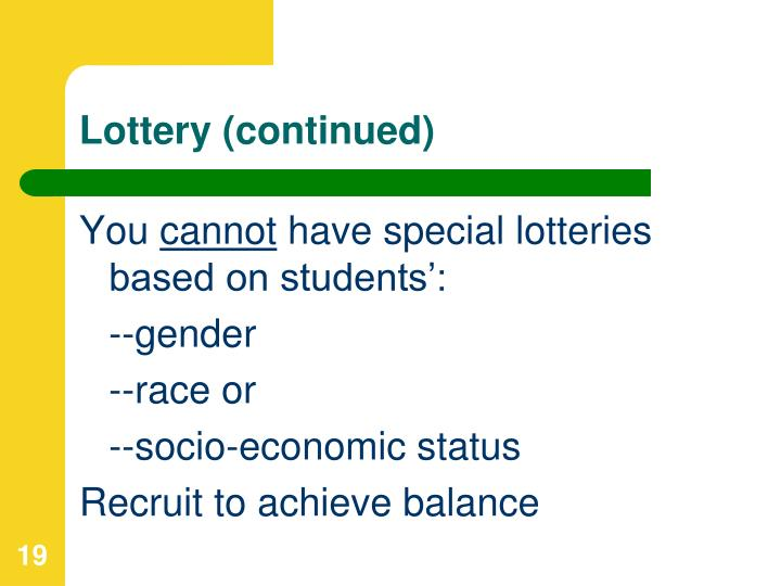 Lottery (continued)
