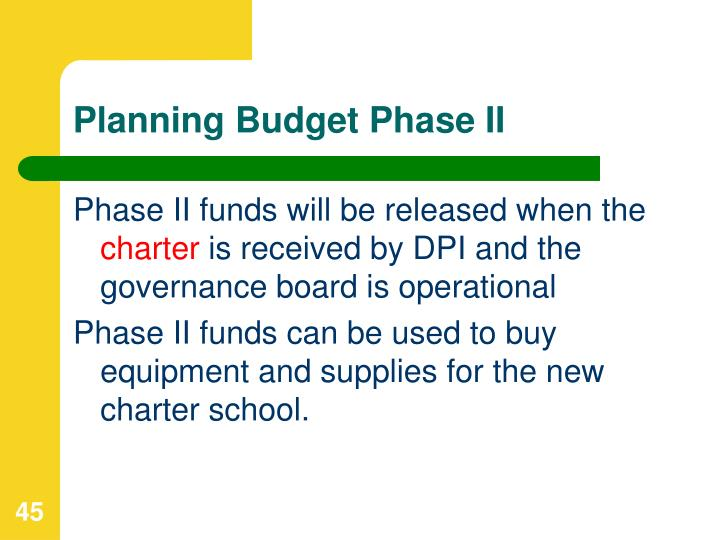Planning Budget Phase II