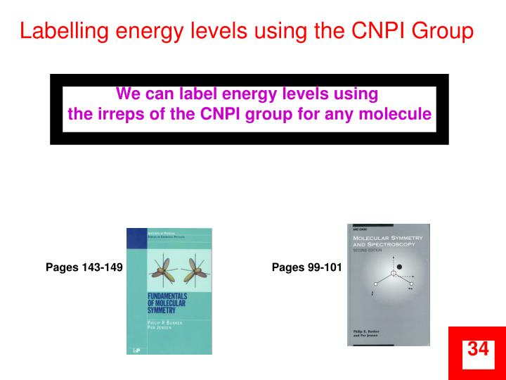 Labelling energy levels using the CNPI Group