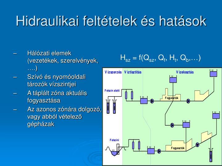 Hidraulikai feltételek és hatások