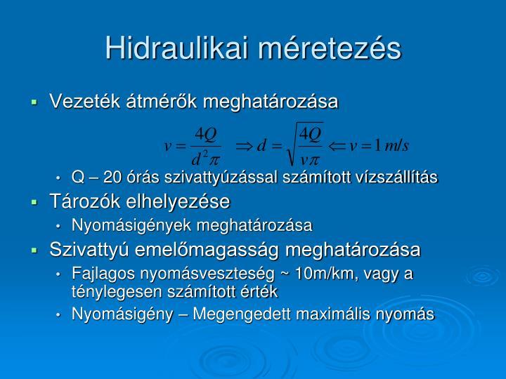 Hidraulikai méretezés