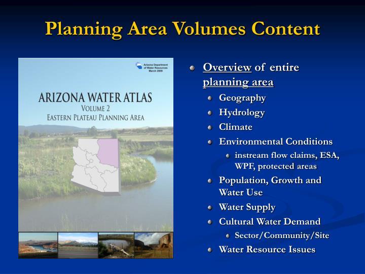 Planning Area Volumes Content