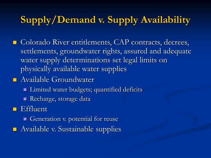 Supply/Demand v. Supply Availability