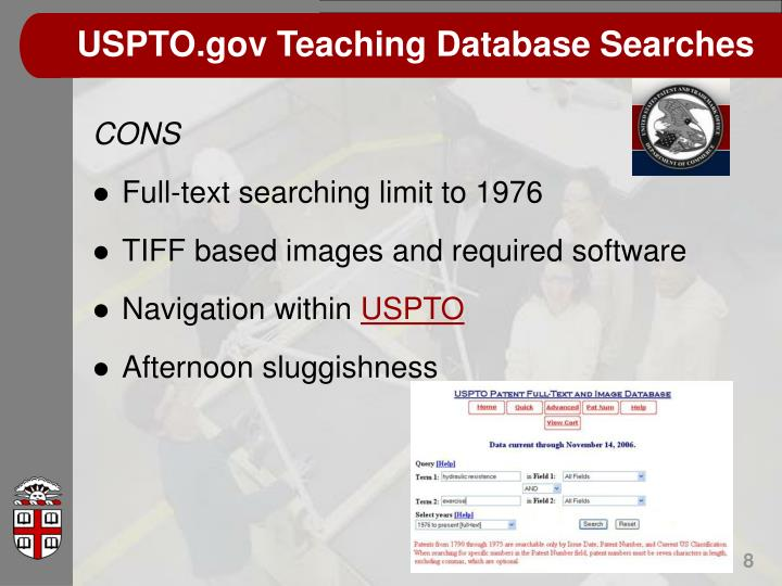 USPTO.gov Teaching Database Searches