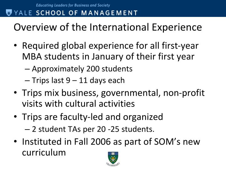 Overview of the international experience