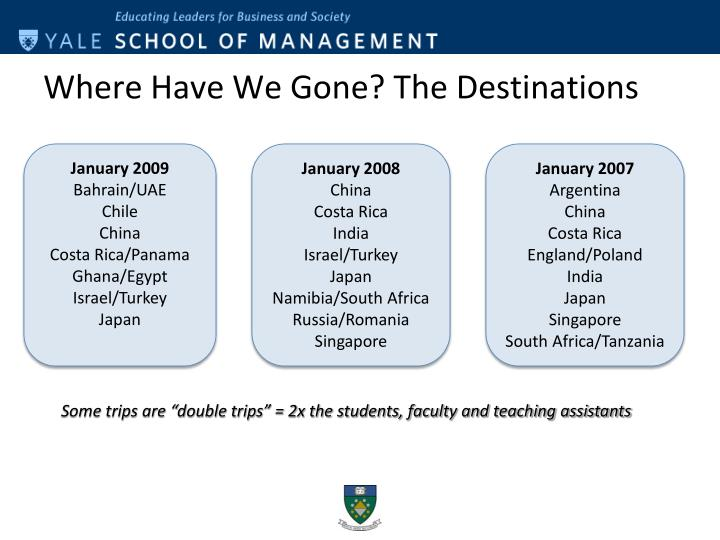Where Have We Gone? The Destinations