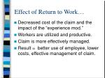 effect of return to work
