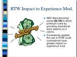 rtw impact to experience mod