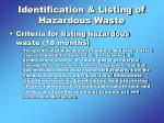 identification listing of hazardous waste