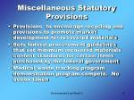 miscellaneous statutory provisions
