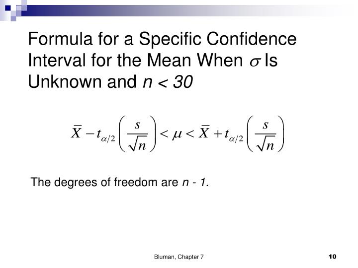 Formula for a Specific Confidence Interval for the Mean When