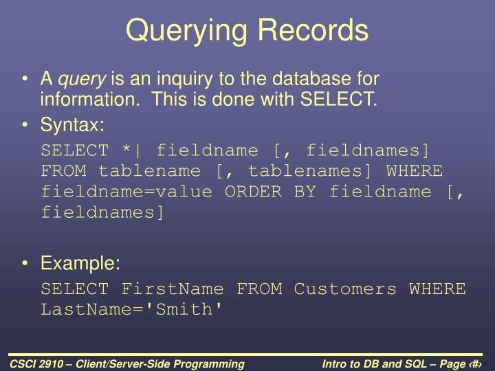 Querying Records