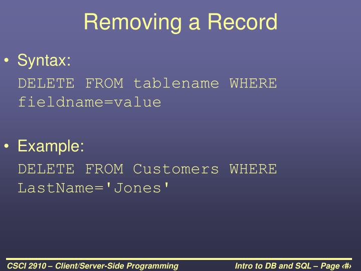 Removing a Record