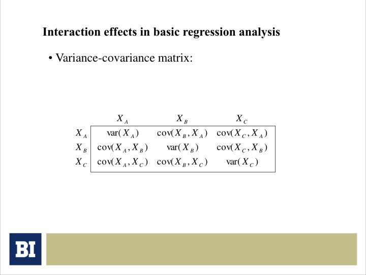 Interaction effects in basic regression analysis