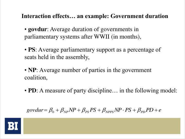 Interaction effects… an example: Government duration