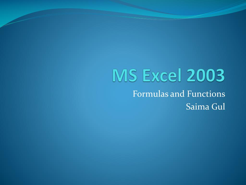 PPT   MS Excel 20 PowerPoint Presentation, free download   ID ...