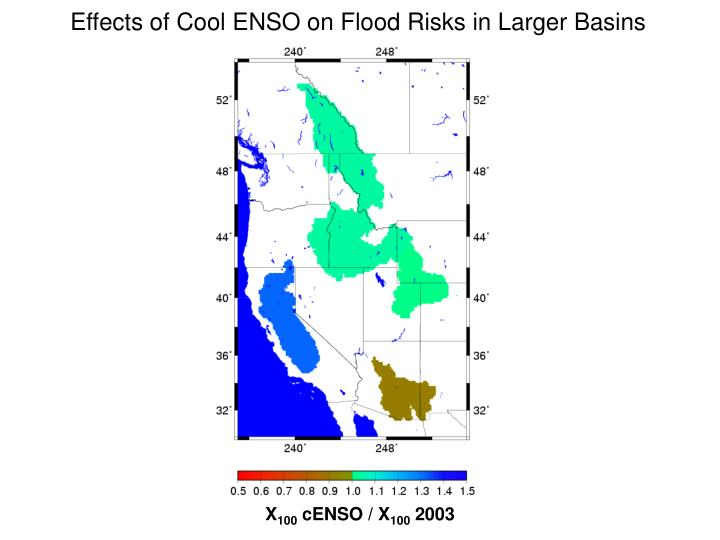 Effects of Cool ENSO on Flood Risks in Larger Basins