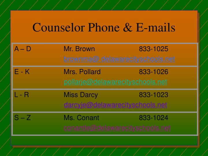 Counselor phone e mails