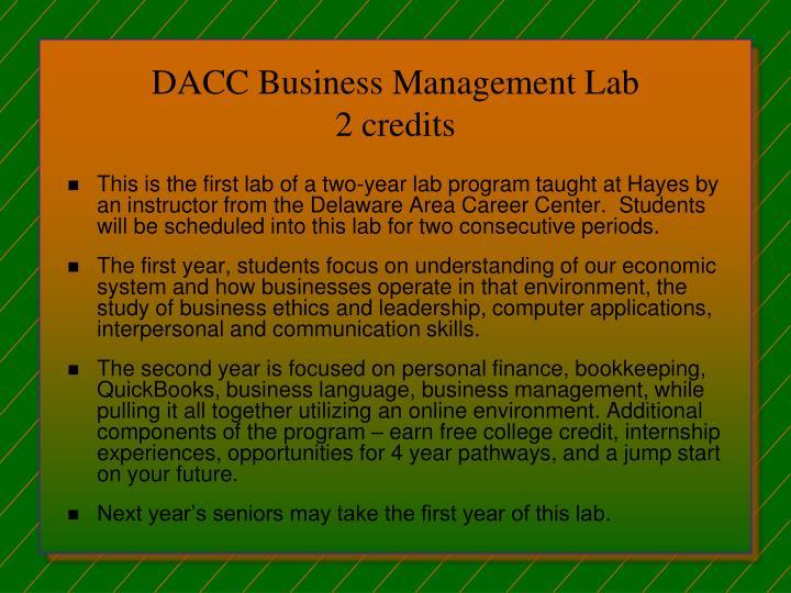 DACC Business Management Lab