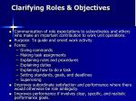 clarifying roles objectives