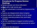 procedures for progress review meetings