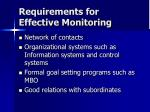 requirements for effective monitoring