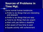 sources of problems in time mgt