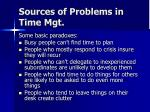 sources of problems in time mgt1