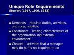 unique role requirements stewart 1967 1976 1982