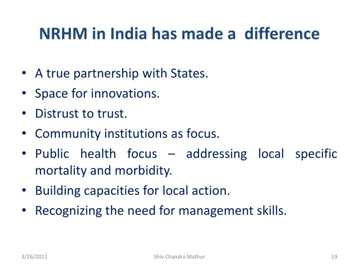 NRHM in India has made a  difference