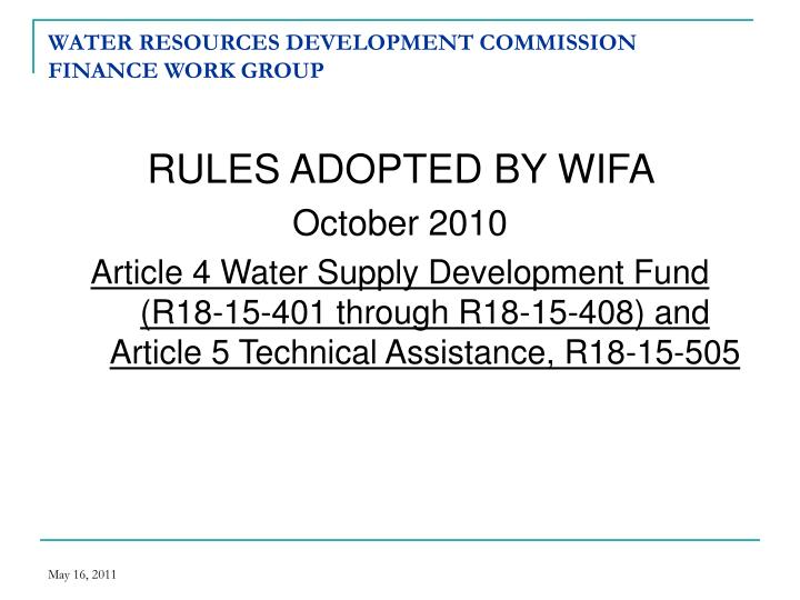 Water resources development commission finance work group1