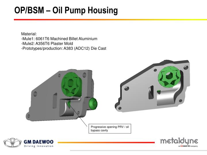 OP/BSM – Oil Pump Housing