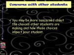 concerns with other students