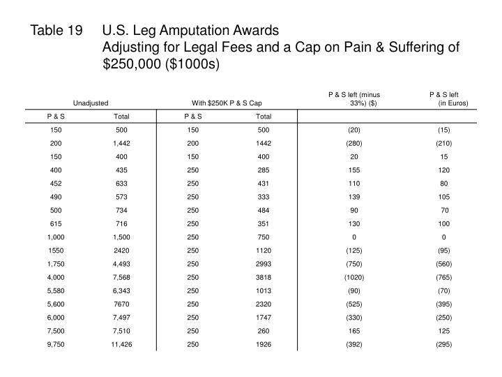Table 19     U.S. Leg Amputation Awards