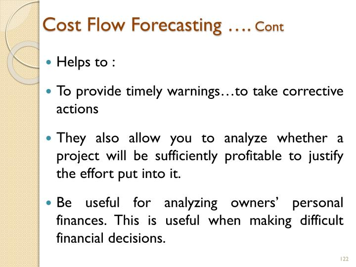 Cost Flow Forecasting ….