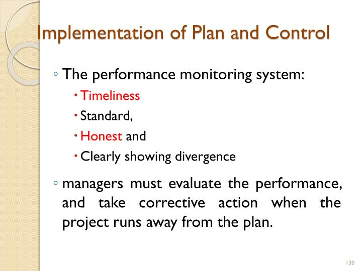 Implementation of Plan and Control