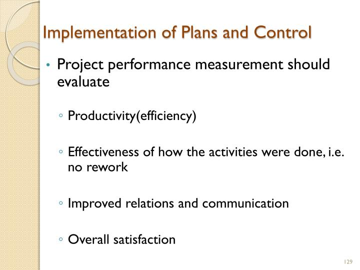 Implementation of Plans and Control