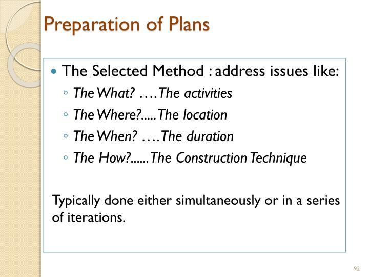 Preparation of Plans