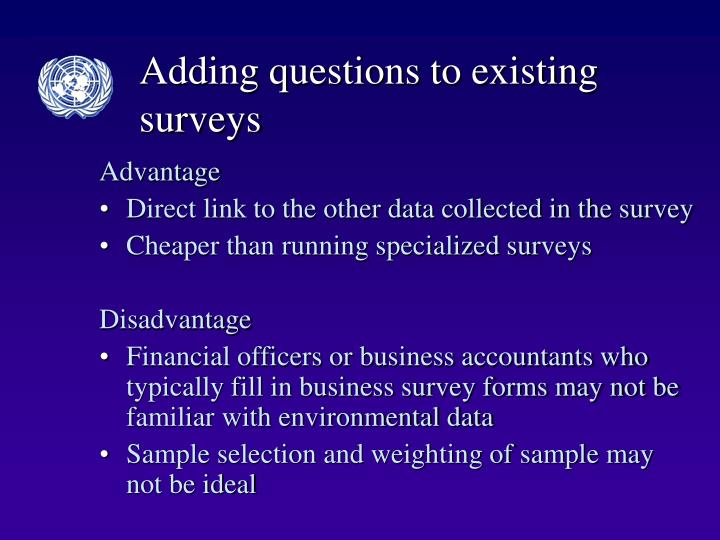 Adding questions to existing surveys