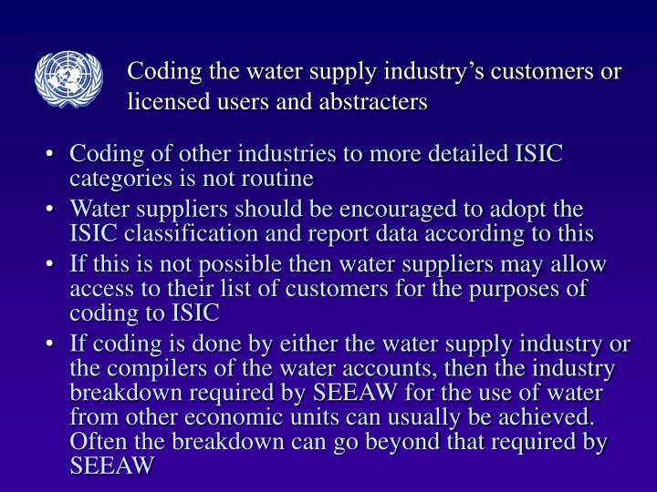 Coding the water supply industry's customers or licensed users and abstracters