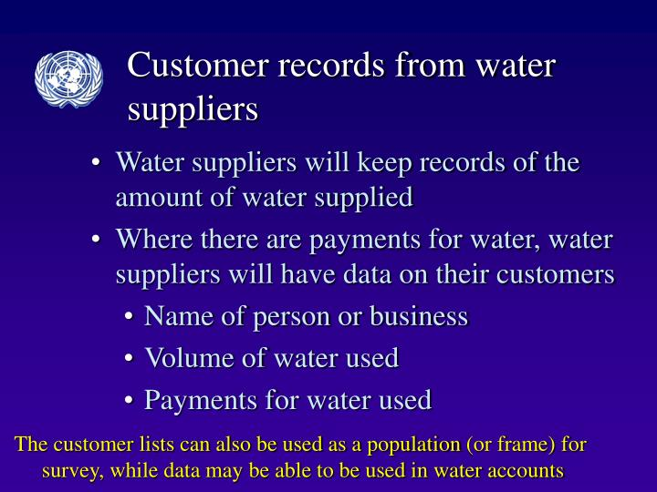 Customer records from water suppliers
